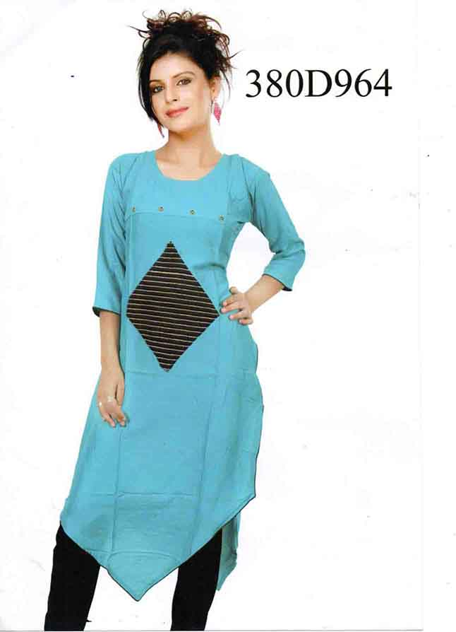 SMC DESIGN 380 D-SKY BLUE STYLISH RAYON KURTI