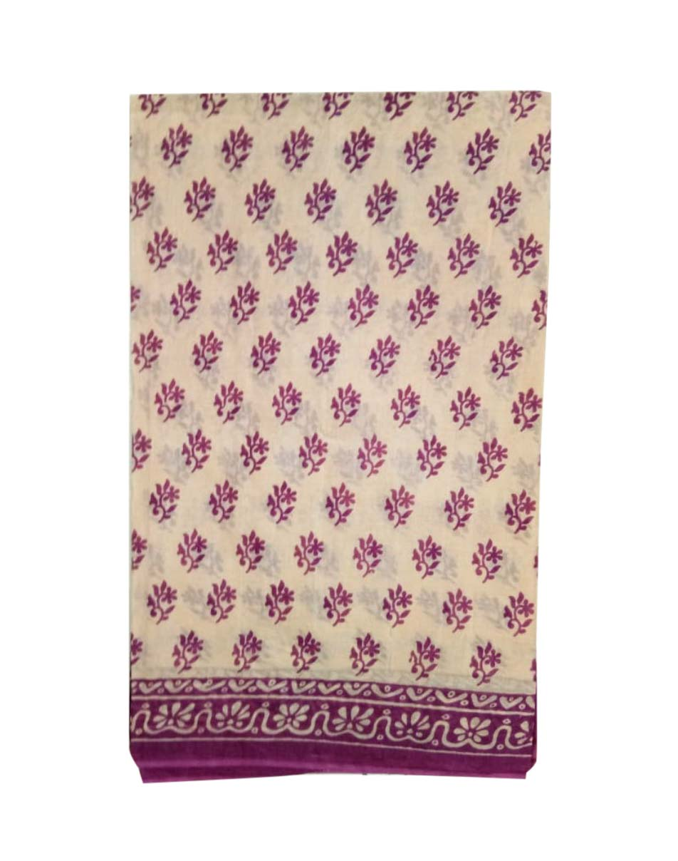 WMN COTTON SAREE WITHOUT BLOUSE-PURPLE-AT MAY CTN 17