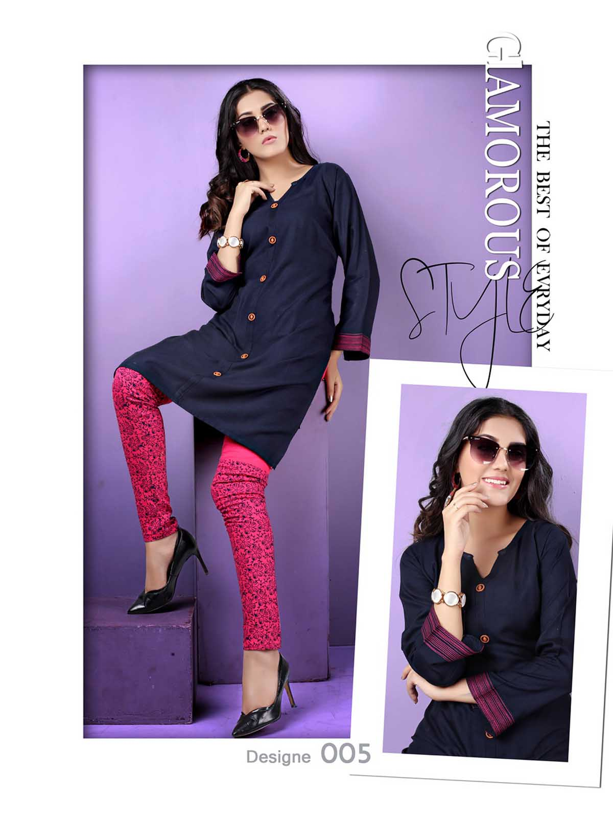 SMC AUG DREAM WEAR 2019-D NO 005 STYLISH KURTI WITH LEGGING