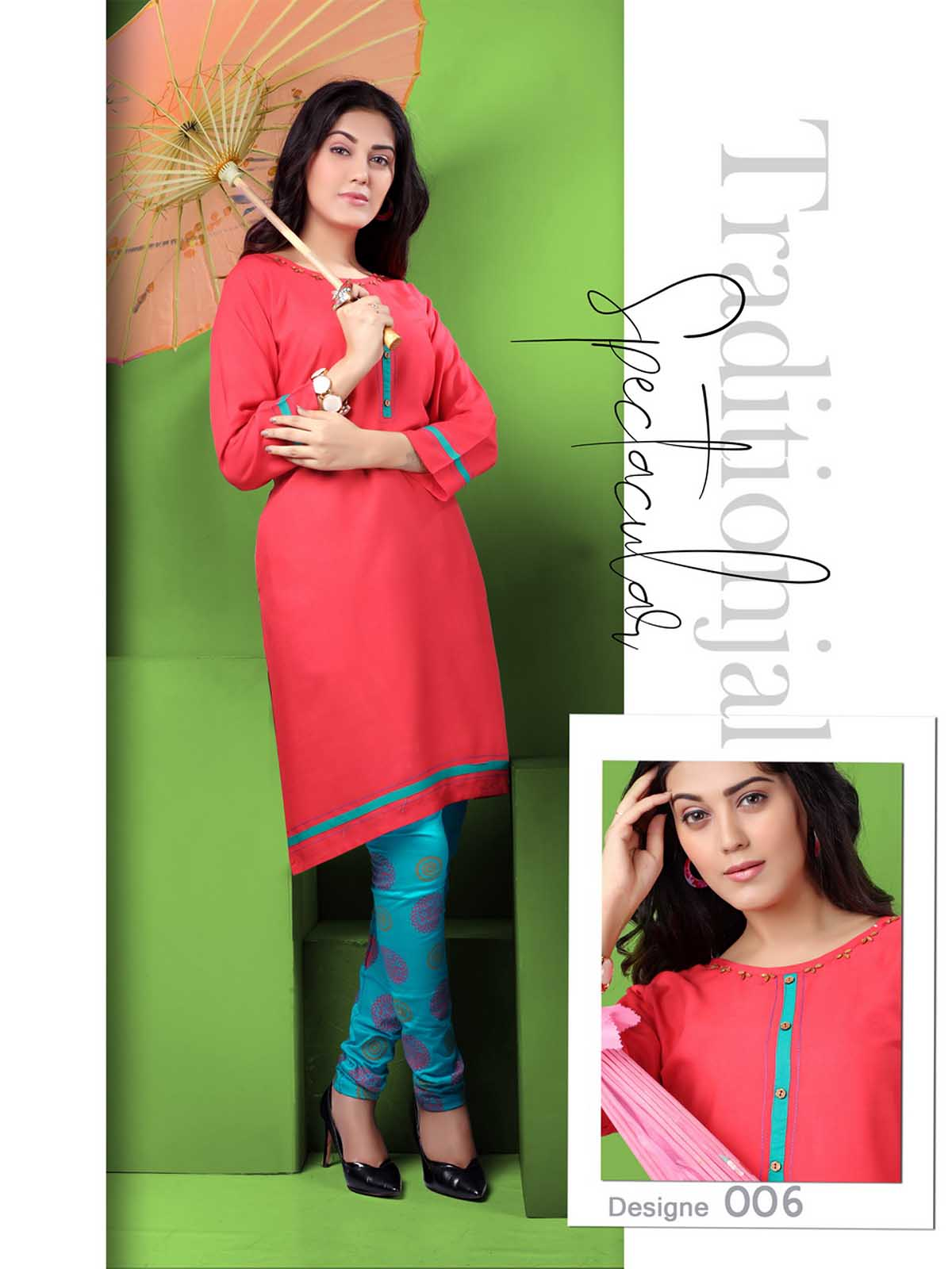 SMC AUG DREAM WEAR 2019-D NO 006 STYLISH KURTI WITH LEGGING