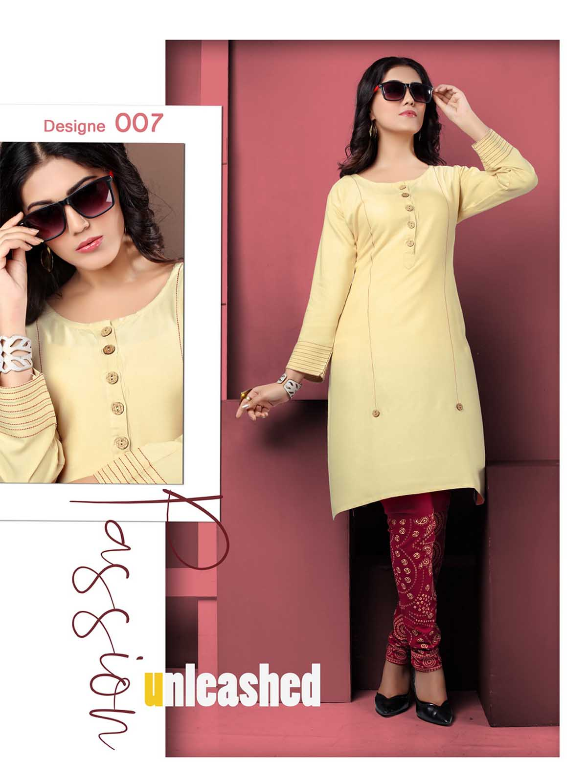 SMC AUG DREAM WEAR 2019-D NO 007 STYLISH KURTI WITH LEGGING