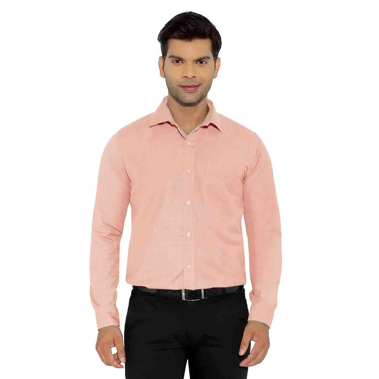 ECOZ -414 -PEACH PLAIN FORMAL SHIRT