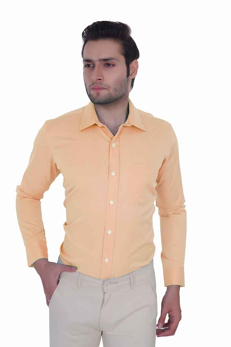 ECOZ -414 -PEACH STRIPE FORMAL SHIRT