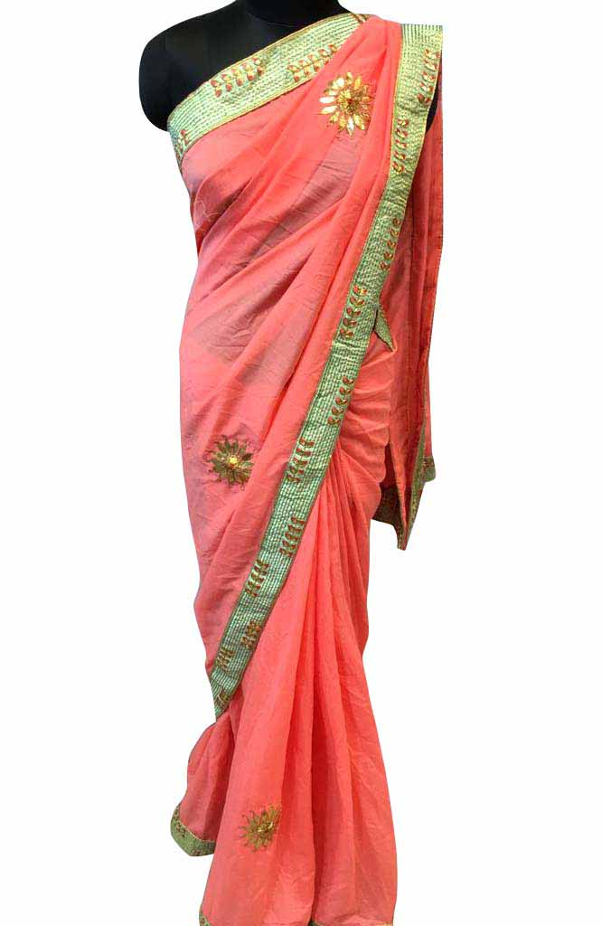 WOMEN SAREE WITH BLOUSE-PEACH-DF GOTTA 55 02