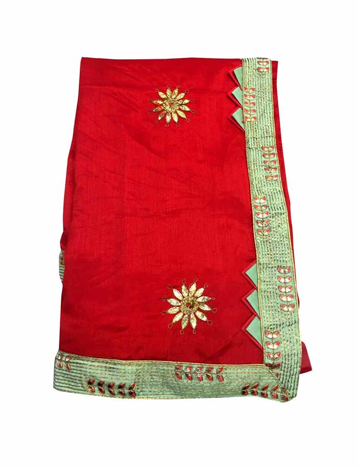 WOMEN SAREE WITH BLOUSE-RED-DF GOTTA PATTI 01