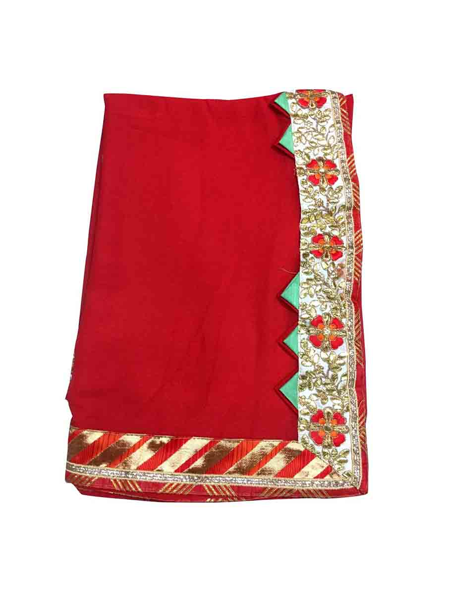 WOMEN SAREE WITH BLOUSE-RED-DF GOTTA PATTI 02