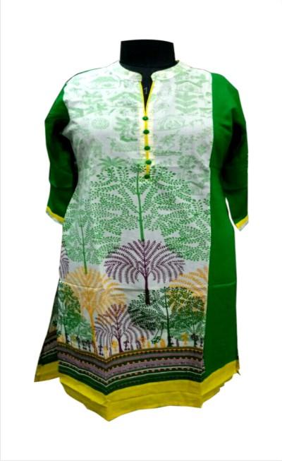 D1 HL - Green Printed Rayon Kurti
