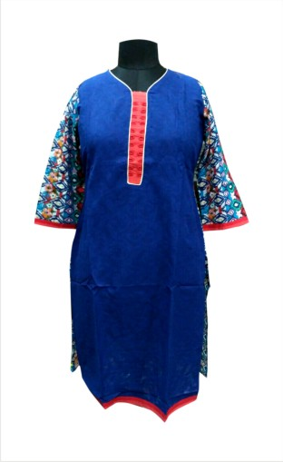 D13 HL - Blue Plain Front & Printed Back Kurti