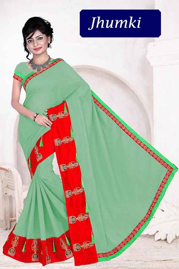WOMEN SAREE WITH BLOUSE-PARROT GREEN-DF JHUMKI 01