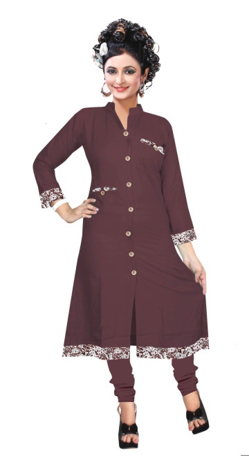 SUF DNO 13-MEHROON Stitched Kurti