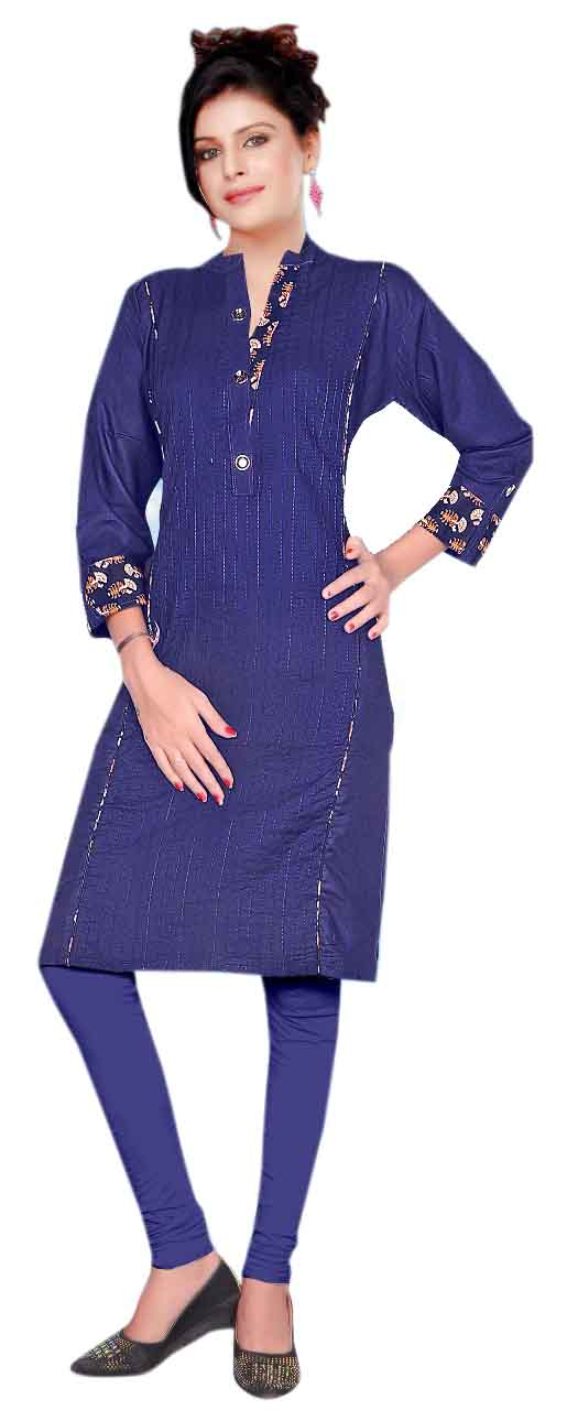 AriFash Closer-NAVY Stitched Cotton Kurti