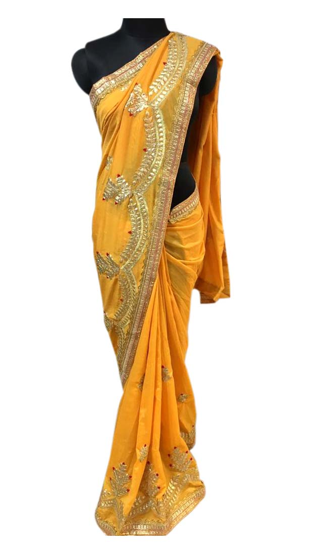 WOMEN SAREE WITH BLOUSE-YELLOW-DF NECKLESS 2019