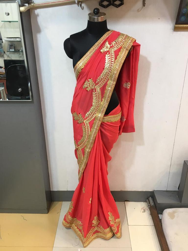 WOMEN SAREE WITH BLOUSE-DARK PINK-DF NECKLESS 2019