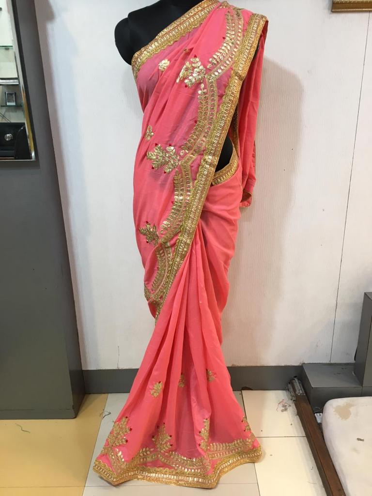 WOMEN SAREE WITH BLOUSE-PINK-DF NECKLESS 2019