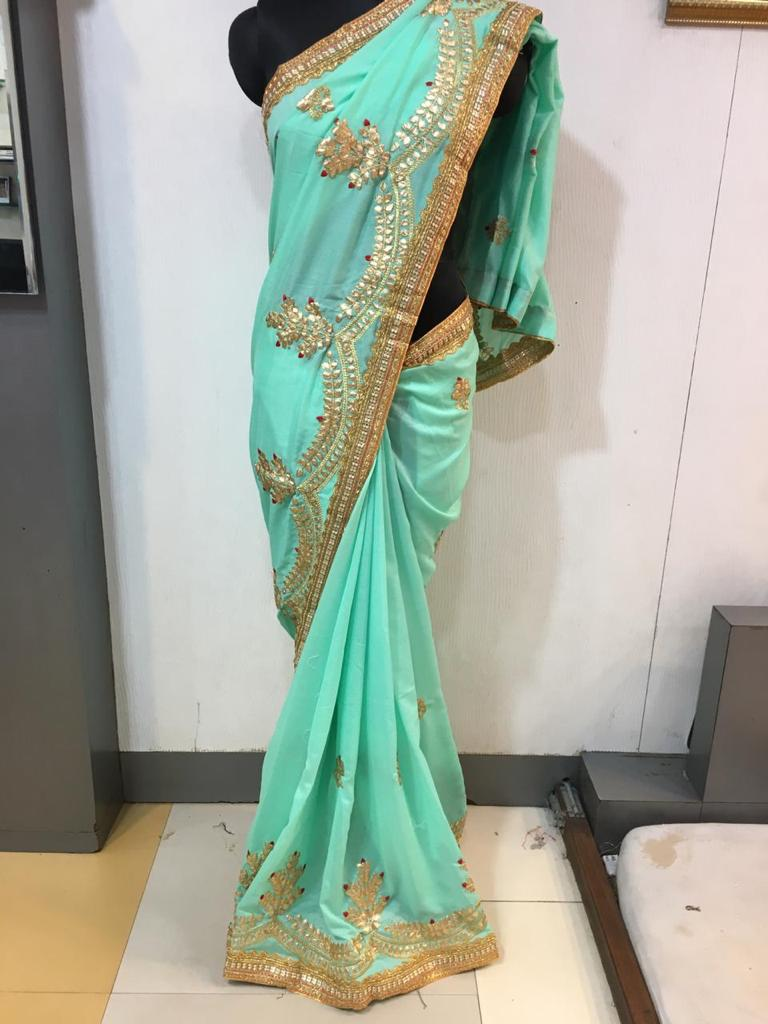 WOMEN SAREE WITH BLOUSE-SEA GREEN-DF NECKLESS 2019