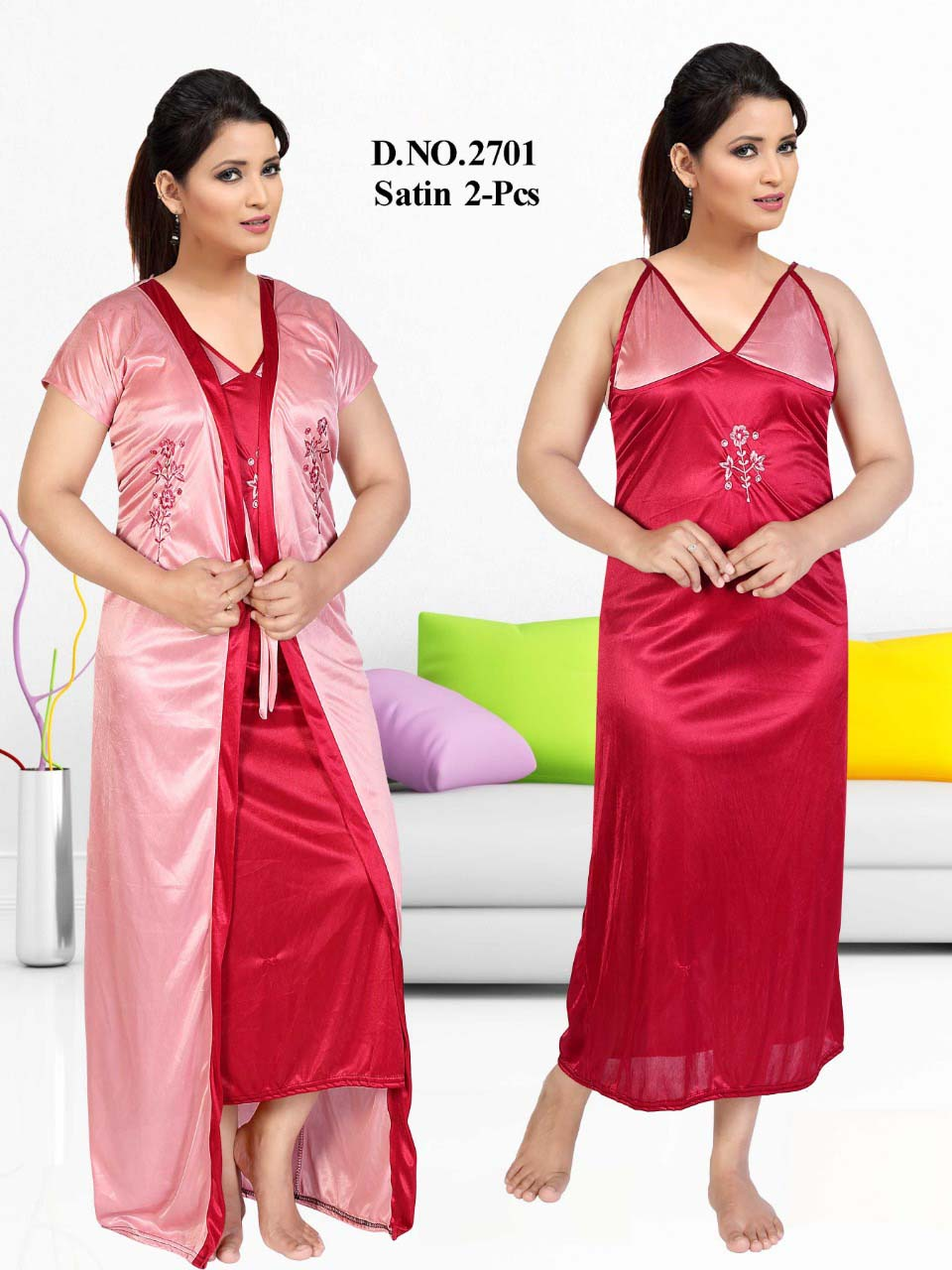 SATIN TWO PIECE NIGTHY-MAHROON-KC JUNE 2701