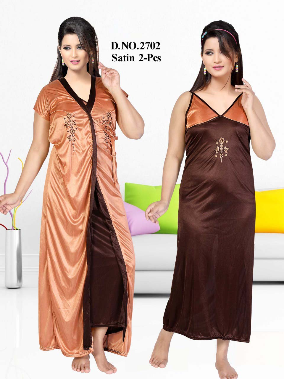 SATIN TWO PIECE NIGTHY-COFFEE-KC JUNE 2702
