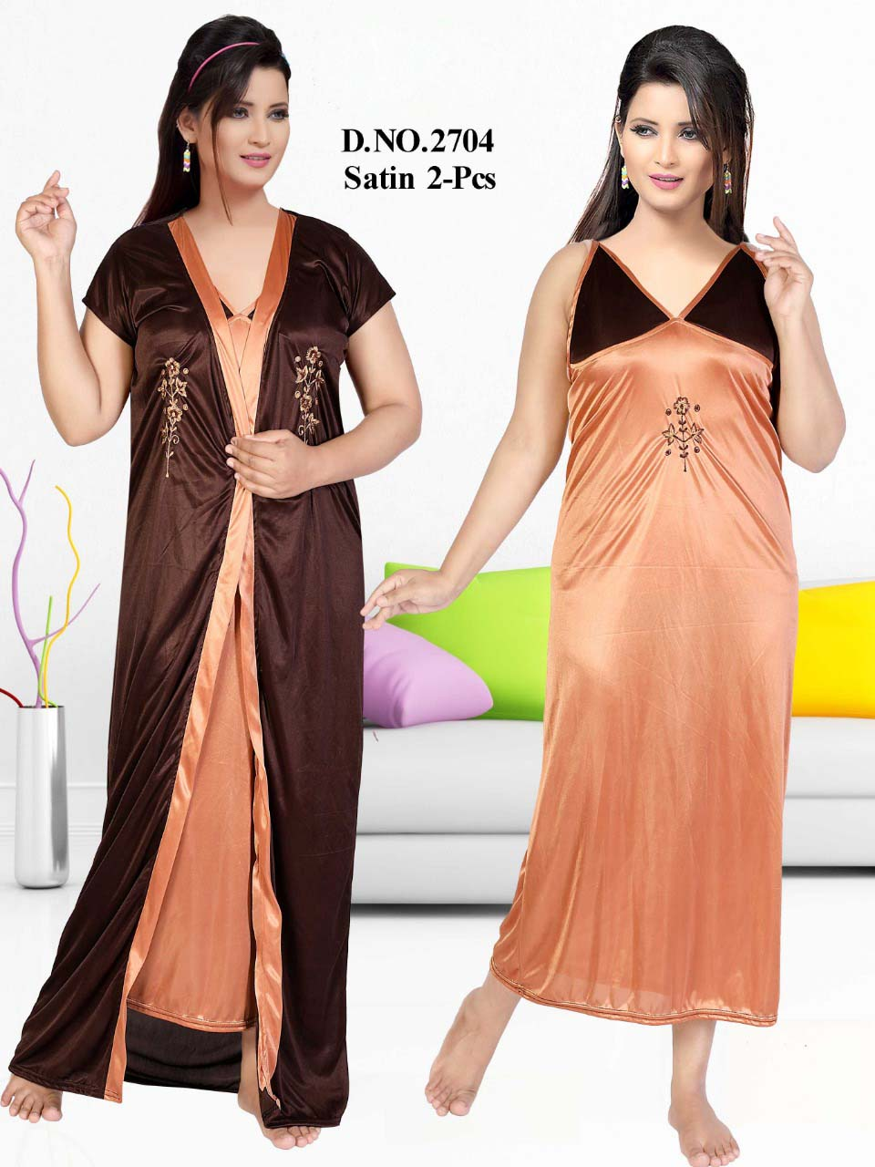 SATIN TWO PIECE NIGTHY-PEACH-KC JUNE 2704