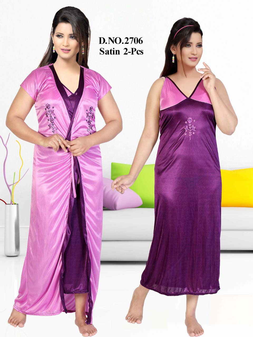 SATIN TWO PIECE NIGTHY-PURPLE-KC JUNE 2706