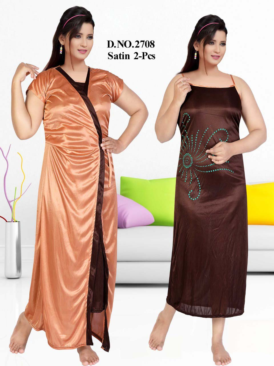 SATIN TWO PIECE NIGTHY-COFFEE-KC JUNE 2708