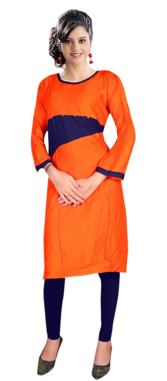 AriFash Royal-ORANGE / BLUE Stitched Cotton Kurti