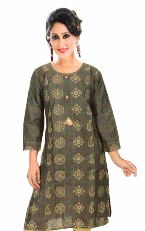 SMC PURVI 01-D NO 10 FULL SLEEVES COTTON LINEN KURTI