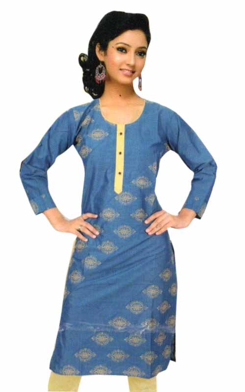 SMC PURVI 01-D NO 4 FULL SLEEVES COTTON LINEN KURTI
