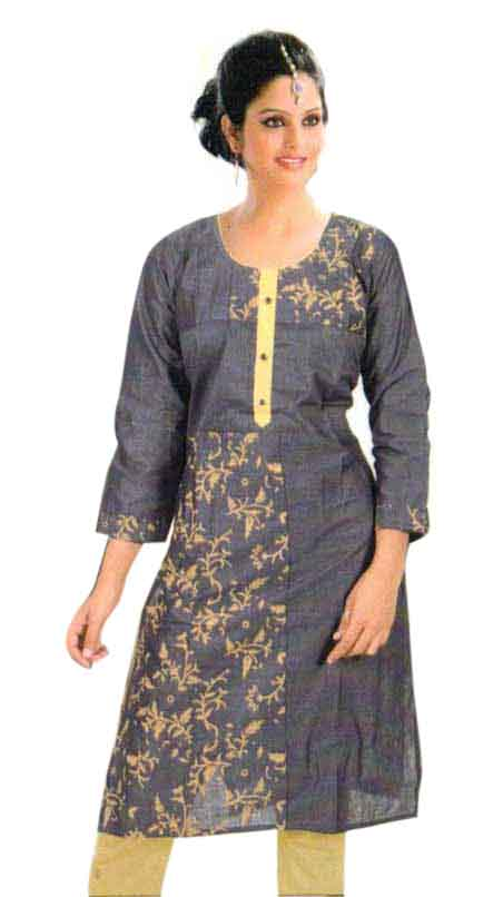 SMC PURVI 01-D NO 8 FULL SLEEVES COTTON LINEN KURTI