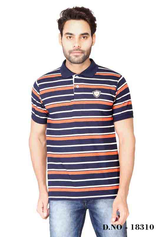 RE STRIPE D 21-ORANGE BLUE POLO T SHIRT
