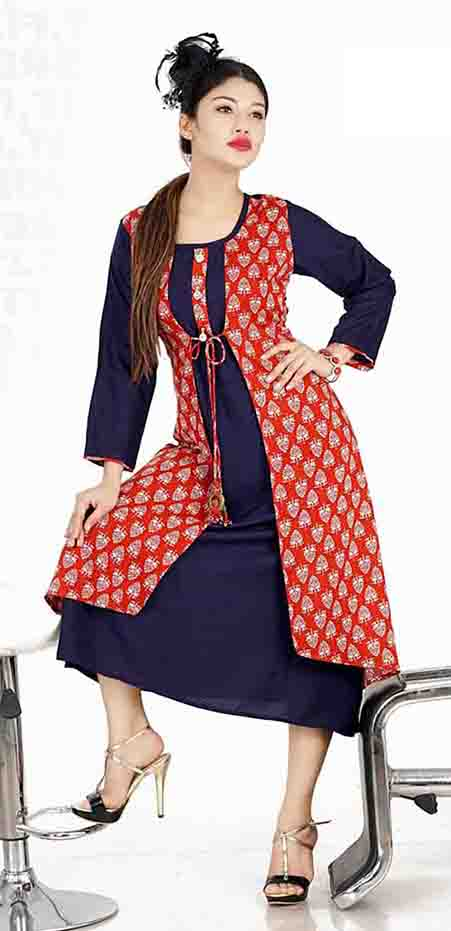 SC SHIVANGI 01-D NO 8 STYLISH RAYON KURTI WITH JACKET