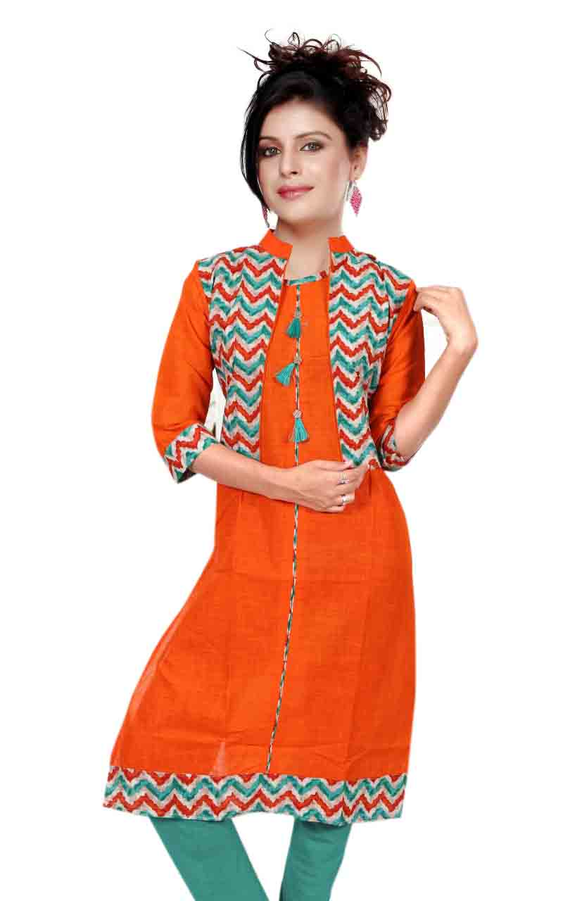 SONAM D NO 1-ORANGE COTTON LINEN WITH COTTON JACKET KURTI