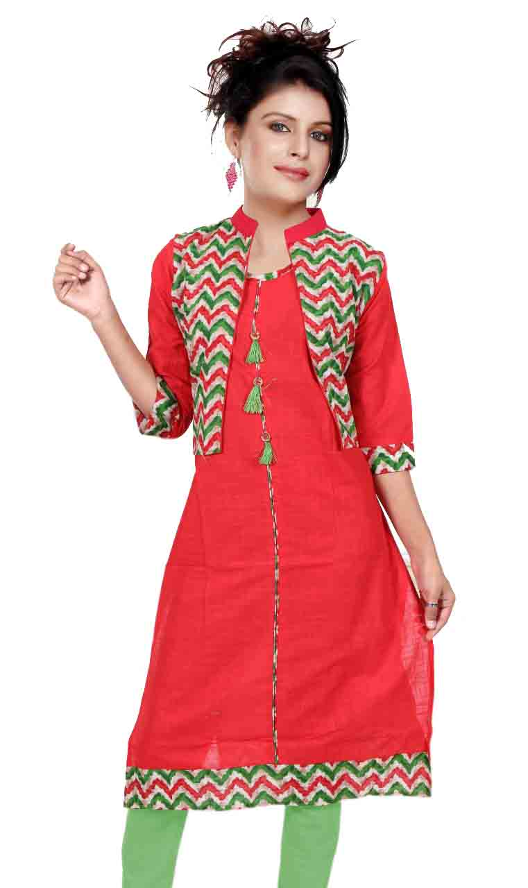 RCA296 - RED COTTON KURTI