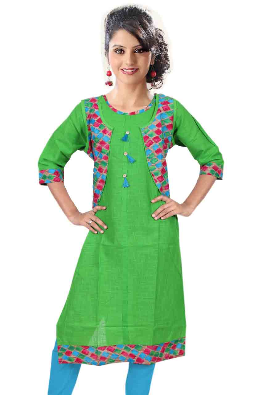 SONAM D NO 2-GREEN COTTON LINEN WITH COTTON JACKET KURTI