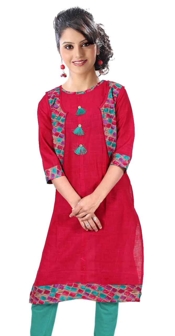 SONAM D NO 2-PINK COTTON LINEN WITH COTTON JACKET KURTI