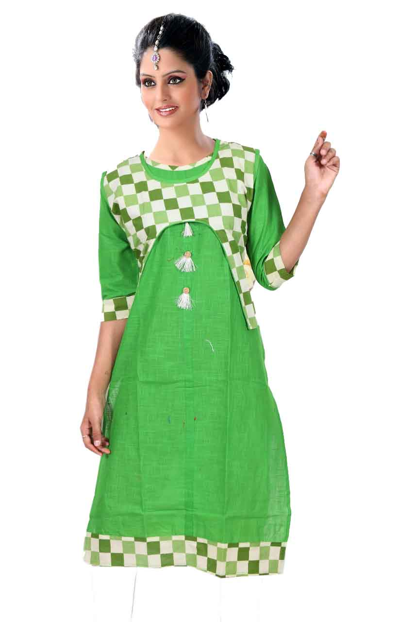 SONAM D NO 3-GREEN COTTON LINEN WITH COTTON JACKET KURTI