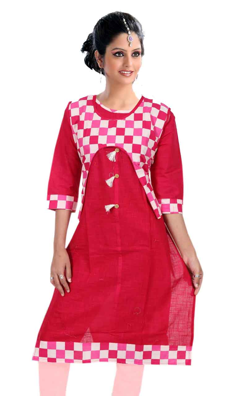 SONAM D NO 3-PINK COTTON LINEN WITH COTTON JACKET KURTI