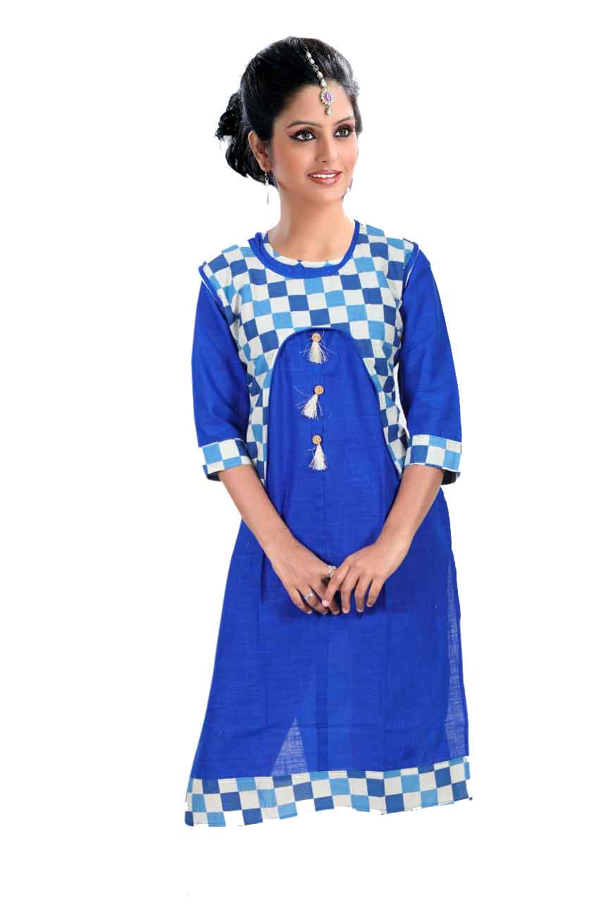 SONAM D NO 3-ROYAL BLUE COTTON LINEN WITH COTTON JACKET KURTI