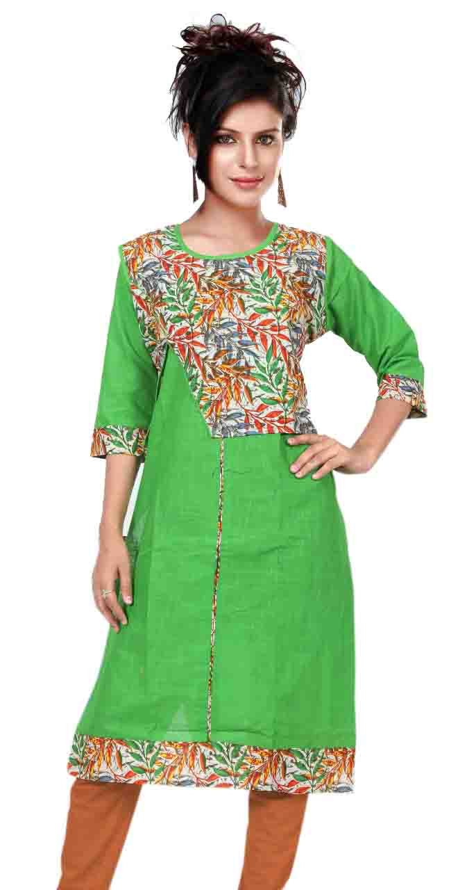 SONAM D NO 4-GREEN COTTON LINEN WITH COTTON JACKET KURTI