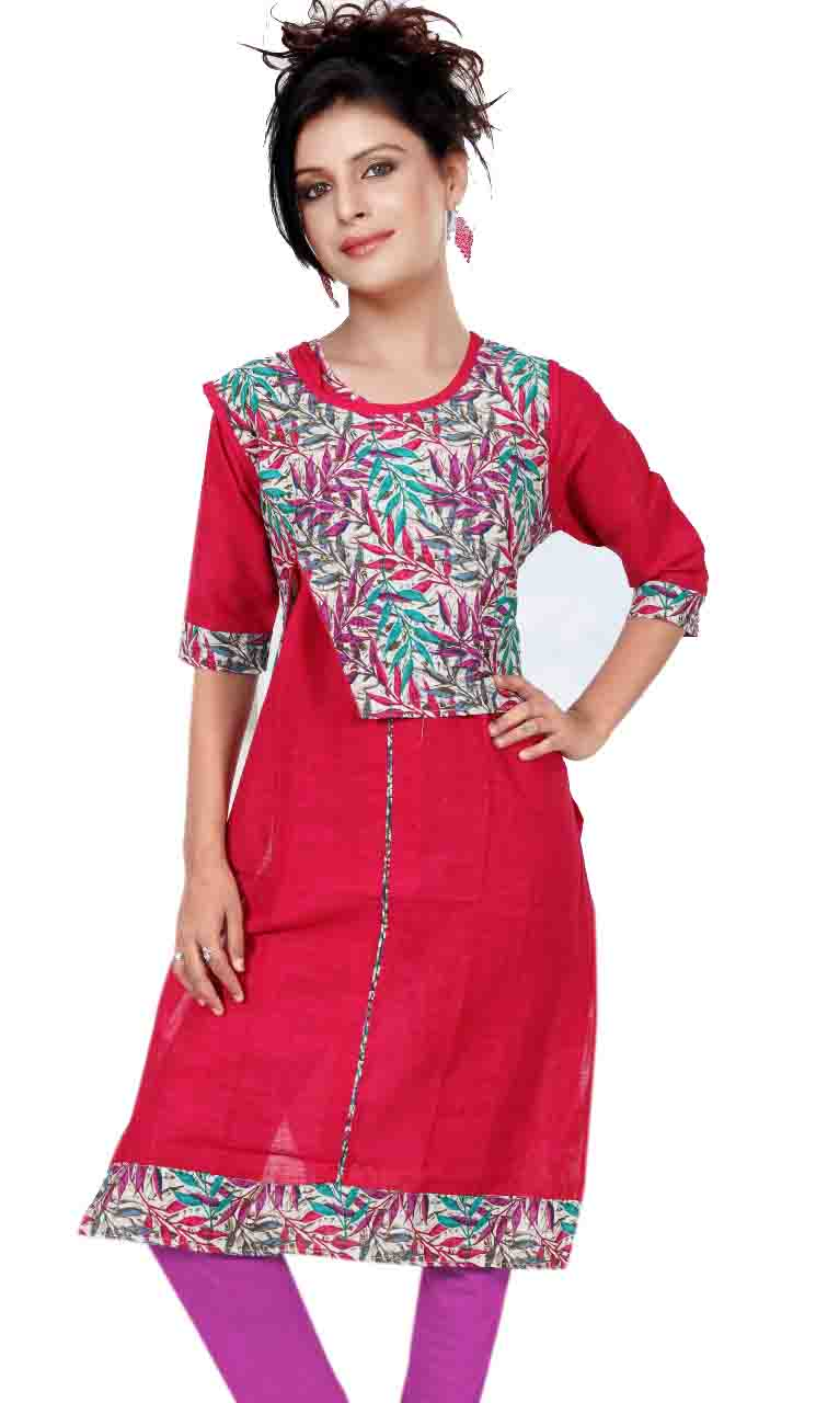 SONAM D NO 4-PINK COTTON LINEN WITH COTTON JACKET KURTI