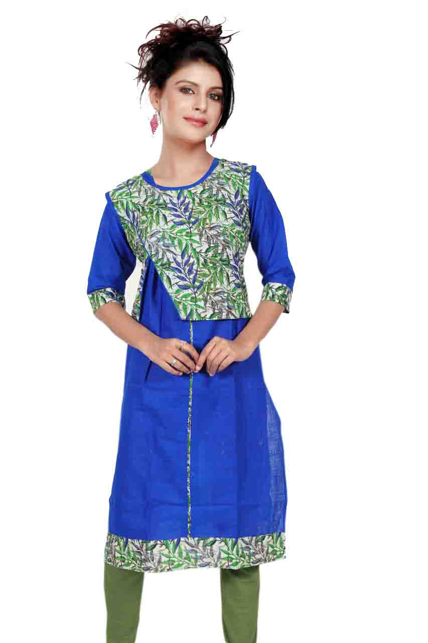 SONAM D NO 4-ROYAL BLUE COTTON LINEN WITH COTTON JACKET KURTI