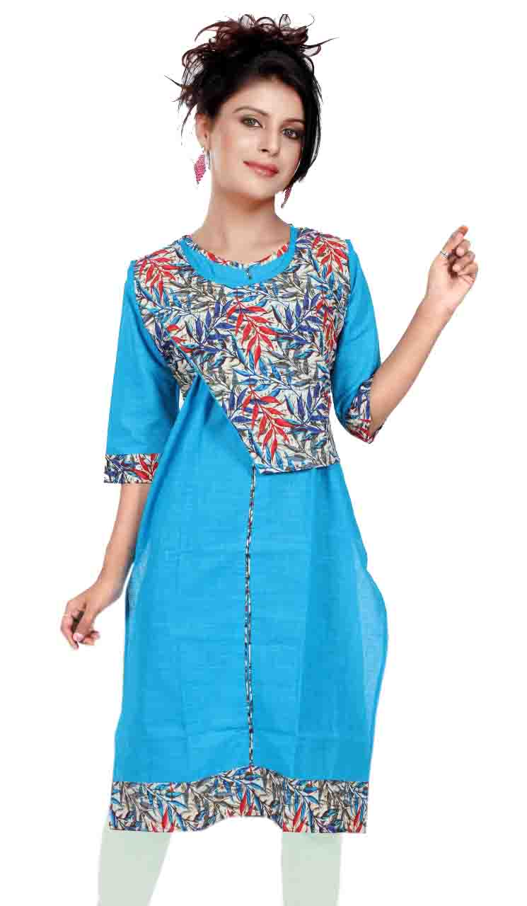 SONAM D NO 4-SKY BLUE COTTON LINEN WITH COTTON JACKET KURTI