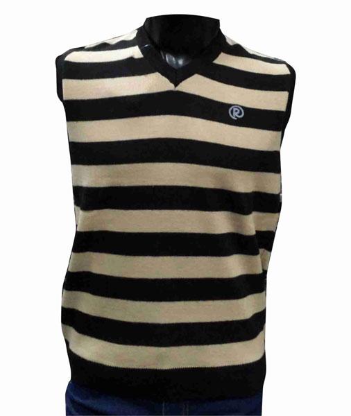 Sleeveless Beige V Neck  Stripes Sweaters