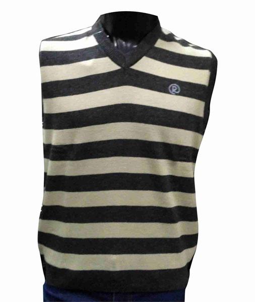Sleeveless  Cream V Neck Stripes Sweaters