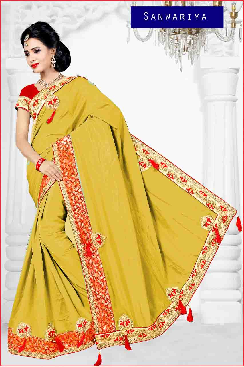 SAREE WITH BLOUSE-DF APL YELLOW